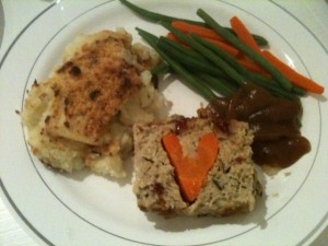 Turkey meatloaf with a carrot heart center